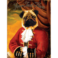 Personalized Fancy Pug Wood Sign