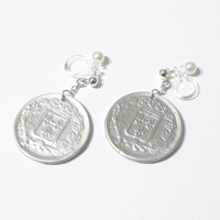 Republique Francais French France Faux Coin earrings |7E| Matte Silver plate non pierced earrings, invisible comfortable clip on earrings