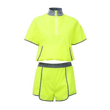 Edgy Style Women Bright Color Zipper Design Short-sleeve Crop Top Loose Shorts Sporty Set