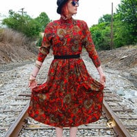 Red Paisley Turtle Neck Dress 80s Vintage