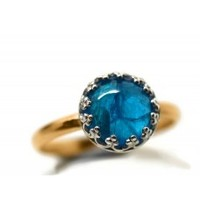 Handforged 14K Gold Fill and 8mm Neon Blue Apatite Ring
