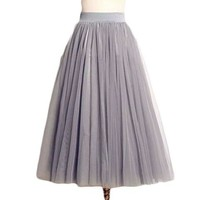 Summer Women Tutu Skirts Tulle Maxi Midi High Quality Vintage Pleated Long White American Apparel Skater