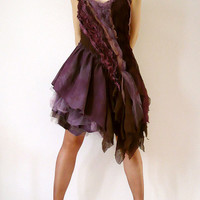 Prom Wedding Plum Brown Purple Lace Tulle Ruffled Tattered Bride Bridesmaid Dress for Party Costume Dancing Upcycled (S-M / Custom Order)