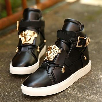 Versace classic high-top sneakers fashion men's and women's casual sports shoes Black
