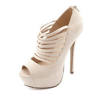 SUEDED STRAPPY PEEP TOE PUMP