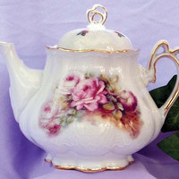 Ashley 5 Cup Hand Decorated Porcelain Teapot - Pink Rose Spray