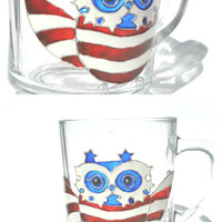 Hand Painted Mug - owl pariot - USA flag - Unique Artistic Gift - Dinner - Parties- cup
