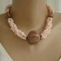 Pink Coral Chip Torsade Necklace w Large Brown Accent Beads Nut Jewelry