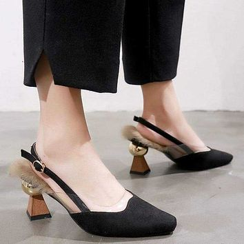 HEE GRAND 2019 New Women Elegant Pumps Flock SliP-on Flock Women Shoes with Pointed Toe Rubber Buckle Lady Fashion Pumps WXG602 Cosplay Hee Gand Macchar Cosplay Catalogue