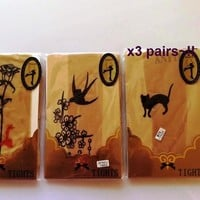 X3 pair Pantyhose Tattoo Legging Tights