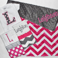 Personalized DOUBLE MINKY CHEVRON Baby Girl Blanket Plus 2 Burp Cloths and Initial Bodysuit - Pink and Gray