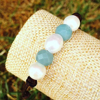 Pearl, Faceted Turquoise Stone, and Leather Bracelet