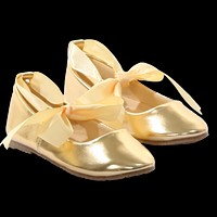 Gold Ballet Flats Girls Dress Shoes with Grosgrain Ribbon