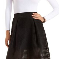 Gingham-Checked Organza Skater Skirt by Charlotte Russe