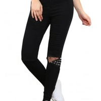 Studded Ripped Knee Jeans | Attitude Clothing