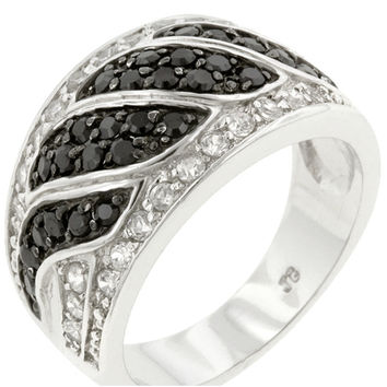 Noor Jet Black and Clear CZ Swirl Band Ring | 4ct | Cubic Zirconia