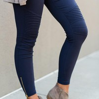 City Slicker Moto Jeggings - Navy