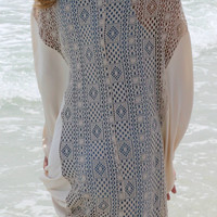 Whimsy Parade Cream Cocoon Cardigan With Crochet Lace Back
