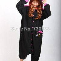 Japanese Anime New Hello Kitty Kitty Cat Black Cosplay Onesuit Pajamas for Adults Christmas Halloween Cosutmes