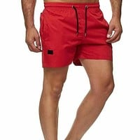 Fashion Casual Men Drawstring Waist Slant Pocket Track Shorts