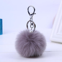 Women Bag Fur Key chain Car Keychain - Pom Pom 8cm  pompom  13 Colors with pearl For Bag charm Car Key Ring  Cute Jewelry #16002