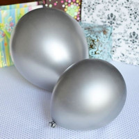 Latex Solid Balloons, 12-inch, 12-Piece, Silver
