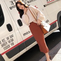 Casual 2 Pieces Set Lantern Sleeve V-neck Pullovers & High Waist Side Split Skirt Women Sweater Suits  2018 Female Knitted Set