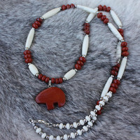 Bear Fetish Necklace  - Red Jasper Necklace - Bone Necklace - Native American Inspired - Bear Totem - Gift For Her - Gift For Him
