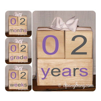 Photography Prop.  Pregnancy announcement. Baby shower gift. Monthly milestones. Baby Shower Nursery Decor. Milestone Blocks. Grey purple