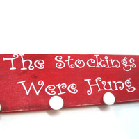Rustic Christmas decoration.  Wooden Stocking Hanger, Christmas home decor. Country Christmas decorations.