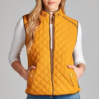 Quilted Fall Vest - Mustard