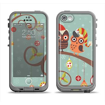 The Retro Christmas Owls with Ornaments Apple iPhone 5c LifeProof Fre Case Skin Set