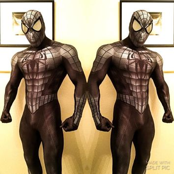 Armored Spider-man Costume 3D print lycra Spandex Zentai Spiderman Full Body Suit Spidey Cosplay Bodysuit with Spiderman Lenses