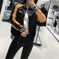 Women Sport Casual Multicolour Leisure Round Neck Print Long Sleeve Embroidery Zip Cardigan Jacket Coat Baseball Clothes