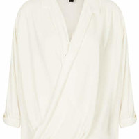 Formal Drape Front Blouse - Cream