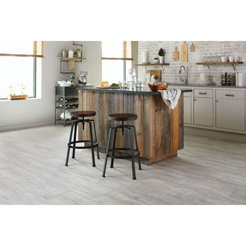 Shop STAINMASTER 12-in x 24-in Groutable Oyster Travertine/White Peel-and-Stick Travertine Luxury Vinyl Tile at Lowes.com