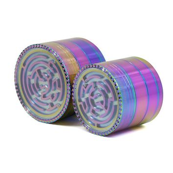 4 Layers Herb Rainbow Maze Grinder Pipes for Smoking Weed Utensils Tobacco Smoke Detectors Pipe Grinding Smoke Crusher Narguile