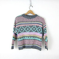 Retro Cropped Sweater 80s Knit Pastel Boxy Jumper Boho Hipster Vintage size XS Small Hipster Girl