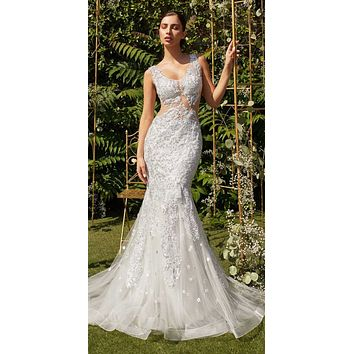 White Mermaid Wedding Gown Lace Appliqued Sheer Midriff