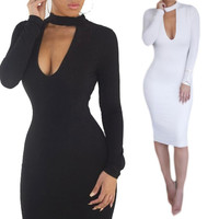 Women Outfits Sexy Slim Bodycon Dresses Long Sleeve Bandage Dresses Fast Shipping