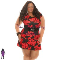 . New Plus Size Mini Dress with Cap Sleeve in Hibiscus Flower Print - Black and Red 1x 2x 3x