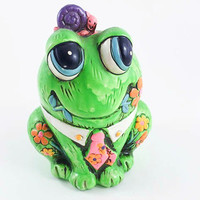 Vintage Frog Bank Holiday Fair Frog Bank Made In Japan Kitschy Frog Green Frog Bank Kitsch Retro Big Eyes Animal Coin Holder 1960s Decor