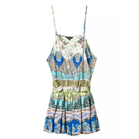 Summer Women's Fashion Cotton Print Butterfly Spaghetti Strap Stylish Jumpsuit [4920607556]