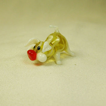 Glass pig micro figurine art glass home decor glass pig fused glass pig ornament art glass fused glass pig murano glass handmade(117)