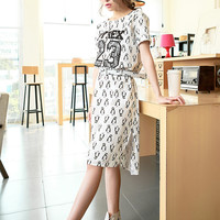 Summer cotton loose round neck casual dress