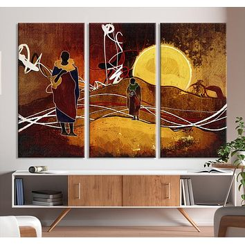 Large African Abstract Canvas Wall Art Print