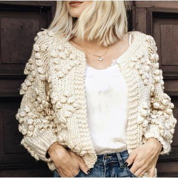 Cardigan sweater with coarse knit wool ball for women