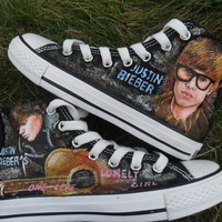 SALE! Hand Painted Justin Bieber Canvas Shoes Free Shipping