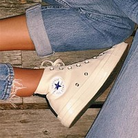 Converse Fashion Canvas Flats Sneakers Sport Shoes High tops Beige