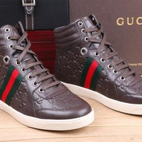 Gucci Men's GG Guccissima Leather High Top Fashion Sneakers Shoes
